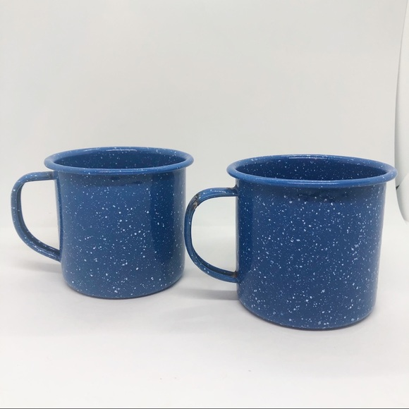 Vintage blue and white enamel mugs